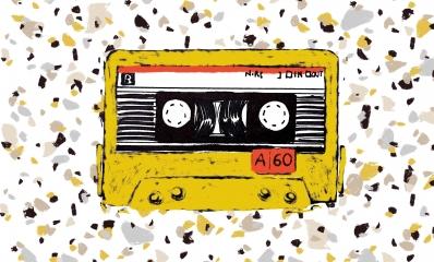 Audiocassetta gialla marmo