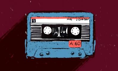 Audiocassetta azzurra viola